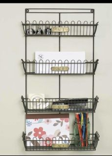 NEW. 4 Tier, Decorative Wire Basket Wall Storage. I will not be able to go lower than $36