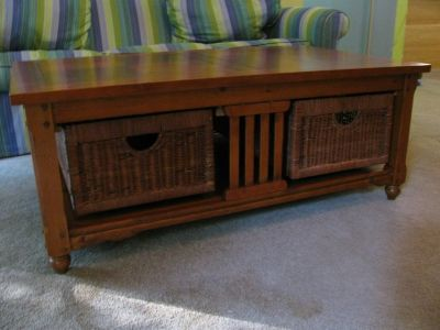 Coffee Table and 3 End Tables Wooden with Wicker Storage Drawers