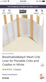 Breathable Mesh Crib Bumper