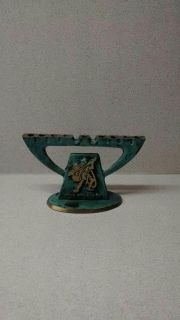 """VINTAGE ***MINI MENORA, 3 1/2"""" WIDE BY 2 1/4"""" TALL, MADE IN ISRAEL, MADE OF METAL AND IS STRONG AND STURDY!"""