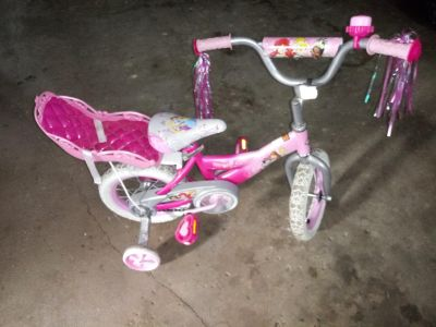 12 inch girls princess bike with doll seat