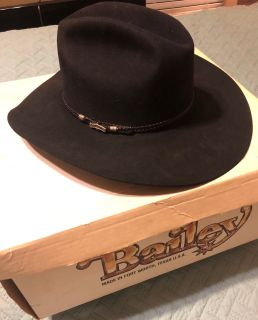 Vintage Black Bailey 4X Beaver Cowboy Hat Clint Black Model Size 7 1/8