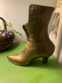 Antique brass boot planter decor