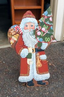 SANTA wooden Stands 3'tall Get Ready for Christmas