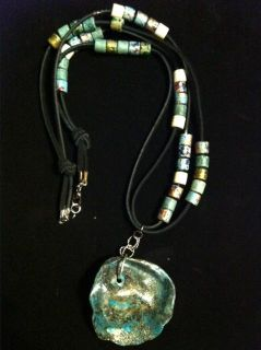 $30, Handmade Native American Style Leather Beaded Handpainted Seashell Necklaces 18