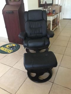 Faux Leather brand new chair and footstool ottoman