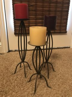 Set of 3 metal candle holders - 10, 12, 14 w/o candles