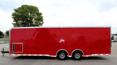2019 28' Thunderbolt Red Enclosed Race Car Trailer