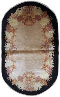Handmade antique oval Art Deco Chinese rug, 1B625