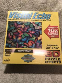 Butterfly Magic Visual Echo 3D Puzzle Effects 500 Pieces New Factory Sealed 20 x 16