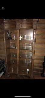 Solid wood lighted cabinet