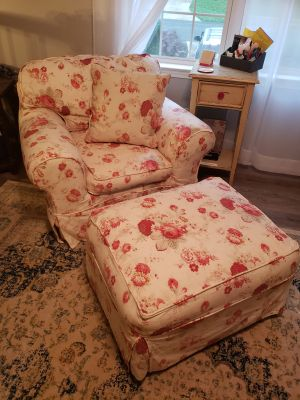 Vintage Rowe Chair , Ottoman and Pillow
