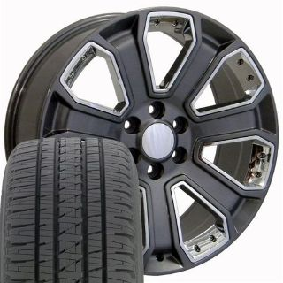 """Buy 22"""" Fit Chevrolet Silverado Style Wheels & Tires Gunmetal with Chrome 4 Rims W1x motorcycle in Sarasota, Florida, United States, for US $1,933.00"""