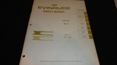 Buy USED EVINRUDE OUTBOARD MOTOR SERVICE MANUAL 1968 5HP 5802, 5803 motorcycle in Gulfport, Mississippi, US, for US $19.95