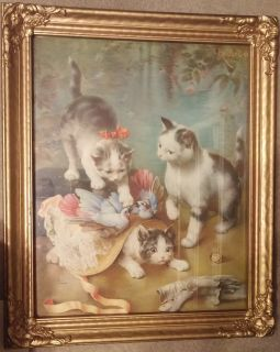 "C. Reichert Framed Print ""Mischievous Kittens"""