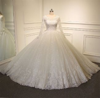Eileen's Princess Long Sleeve Lace/Tulle Wedding Gown With 1 1/2 Foot Train