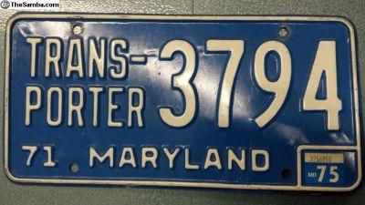1971 72 73 74 75 Maryland Bus TRANSPORTER Tag