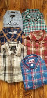 Barely used Men flannel and solid long sleeve button down shirts, sweaters and ties