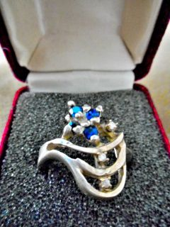 Jewel Ring Silver Diamonds & Sapphires 1930'S Vintage