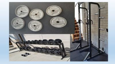Gym rack and dumbbells weights