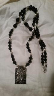 Handmade Black and White Beaded Necklace