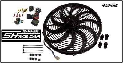 "Buy 16"" HD 3000 CFM reversible electric fan & Universal 40 Amp relay Temp Fan sensor motorcycle in Winder, Georgia, US, for US $69.90"
