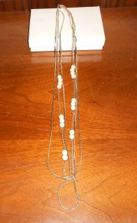 Multi Chain necklace with faux pearls
