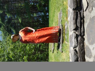 Silk Regency Jane Austen Empire Waist Burnt Orange Ball Gown Reenactment Costume Sz 2XL