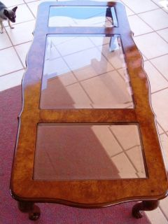 Wooden Coffee Table With Three Glass Inserts