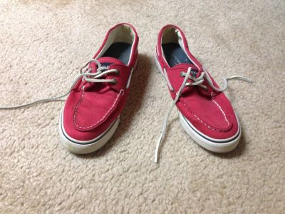 Women's red sperry top sider size 7