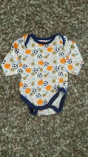 FISHER-PRICE, Long Sleeve Sports Themed Onesie. Size 0-3mos. EUC. No Smoke/No Pets/No Holes/No Stains.