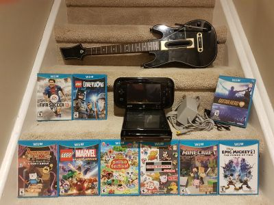 Perfect Kid Friendly Nintendo Wii U Bundle 9 Games Guitar Hero Controller all Cords