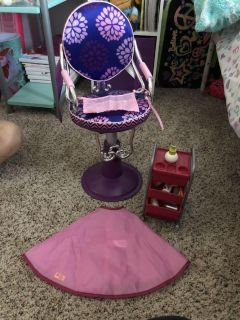 Doll chair and cart with hair accessories