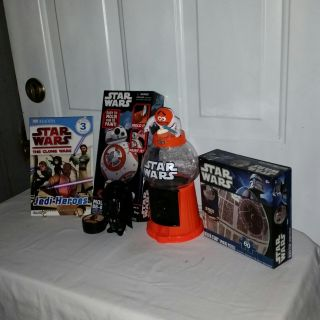 """Star Wars mold and paint set (never opened) M&M dispenser 11"""" tall, yo yo, Book The Clone Wars, 30 piece puzzle. Figures 4.5"""" tall."""