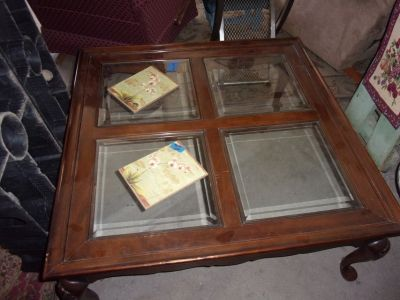 Large Victorian Glass Top Coffee Table