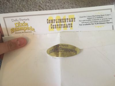 Dixie Dolly Parton stampede 2 tickets