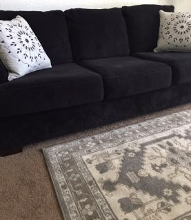 Sofa. 8 ft. Black Corduroy