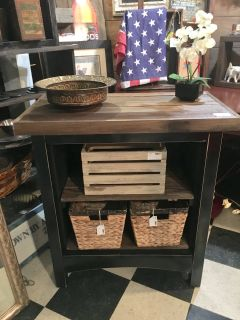 Black and reclaimed wood shelves