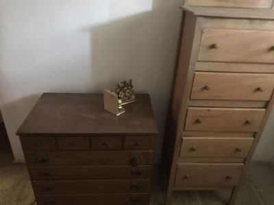 Dresser and chest of drawers real wood.