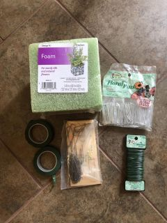 Floral Crafting Supplies for Wreaths Etc ~ Includes Foam Block, Wire, Tape & Pins
