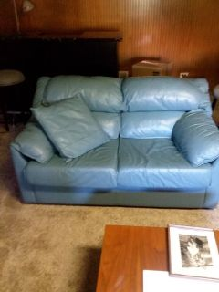 leather love seat and queen sofa bed