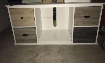 White TV stand / Entertainment Stand with brown doors
