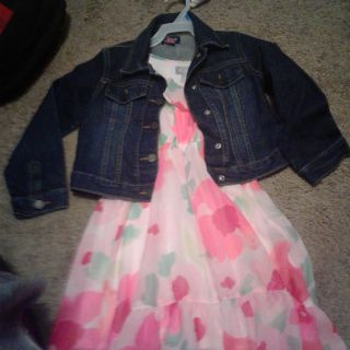 The place jean jacket and floral dress