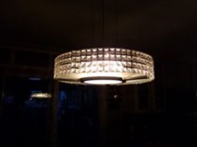 Beautiful 19 in Round Crystal Glass Hanging Light Fixture