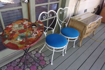Ice Cream Chairs and easel table