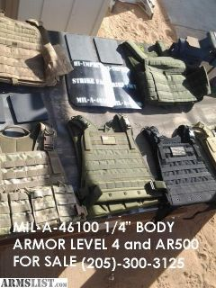 "For Sale: High-Impact Level 4 Body Armor MIL-A-46100 1/4"" fragmentation Protection Brand New"