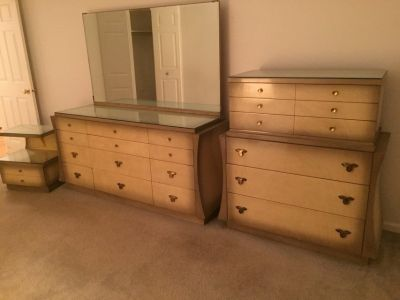 Vintage dressers, night stand with glass cover