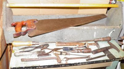 Antique Tool Box With Old Tools