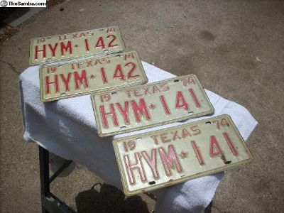 1974 Texas License Plate set of 4