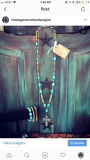Pastel and turquoise cross stone necklace set
